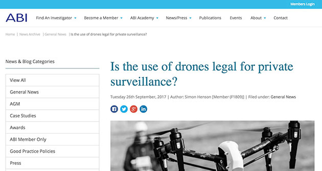 Legal Use of Surveillance Drones | The Association of British Investigators