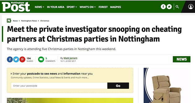 Nottingham Evening Post Article December 2017 | Titan Investigations