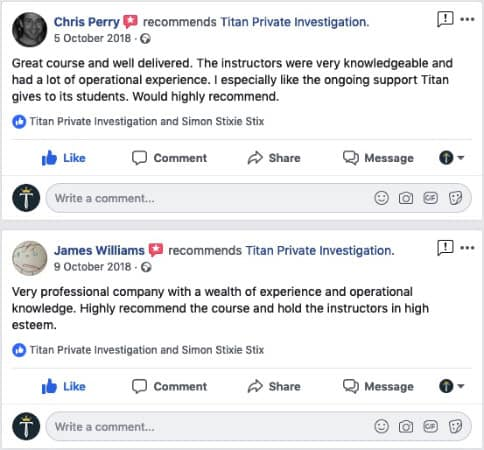Surveillance Training Courses Student Feedback | Titan Investigations